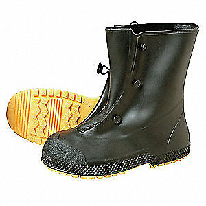 HONEYWELL SERVUS Overboots,Mens,XL,Button Tab,Blk,PVC,PR, 11002B/XL, Black