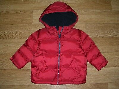 MARKS & SPENCER Boys Fleece Lined Red Navy Hooded Coat Jacket Age 9-12m