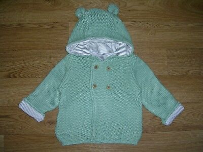 MARKS & SPENCER Green Cotton Knitted Jacket Hooded Cardigan Age 6-9m