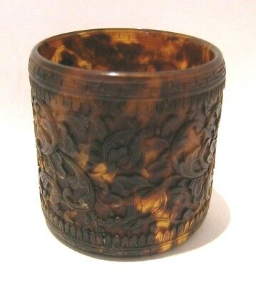 19thc Faux Tortoiseshell Carved Napkin Ring