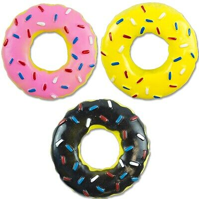 STRONG SQUEAKY RUBBER 13.5cm DOUGHNUT DOG TOY Fun Puppy Chew Squeaker Donut Pet