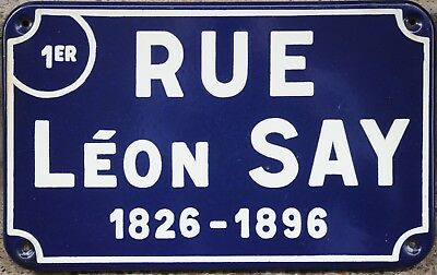 Old French enamel steel street sign road plaque economist Leon Say Nantes centre
