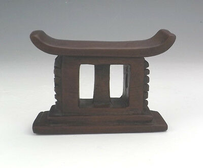 Antique African Ashati Tribe Small Carved Wood Headrest - Tribal Art - Unusual!