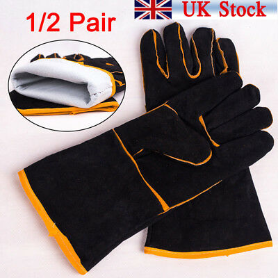 Heavy Duty Wood Burner Welding Heat Resistant Leather Gloves Stoves Fire Black