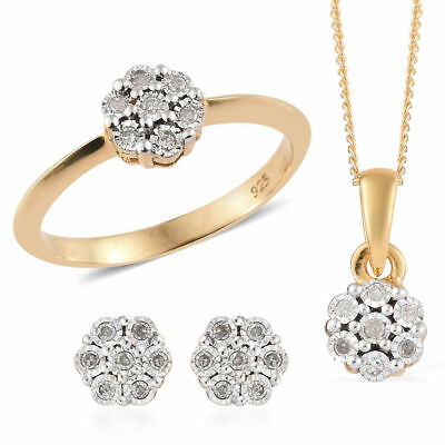 Diamond 14K Gold Over Silver 3 Pcs Ring, Earring, Pendant With Chain Set 0.15 Ct