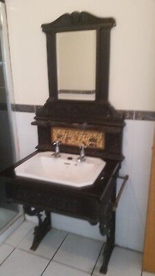 traditional wrought iron bathroom  wash stand, delf basin & chrome taps