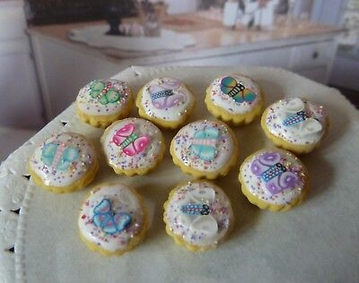 Dolls House Miniature Food * 10 X Frosted Butterfly Cupcakes * Combined P+P