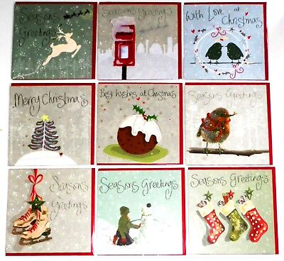 150 CHRISTMAS CARDS, JUST 20p, SUPERIOR FINISH- CLARE DAVIS- WRAPPED- GLITTERED