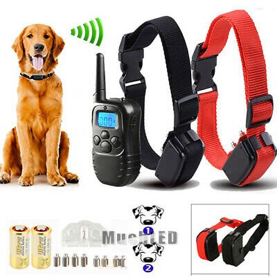 Waterproof Rechargeable LCD 1000 Yard Shock Vibra Remote 2 Dog Training Collar