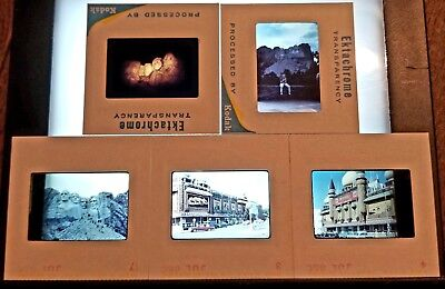 5 Vtg 35mm Color Slide Photo Lot-1964 SOUTH DAKOTA-Mt Rushmore Night-Corn Palace