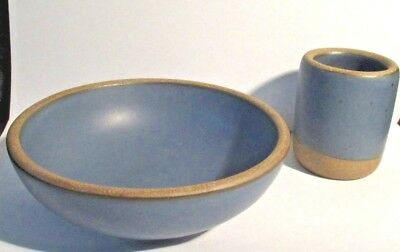 New East Fork Pottery Blue Baby Bowl & Cup by Henri Matisse Great Grandson Alex