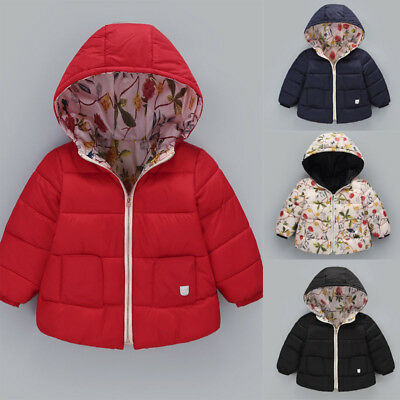 Kids Baby Girl Boy Winter Hooded Coat Floral Jacket Thick Warm Outerwear Pockets