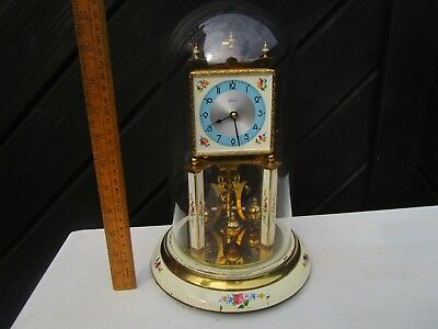 Vintage Kern Dome Clock / Kern Anniversary clock with square dial and Glass Dome