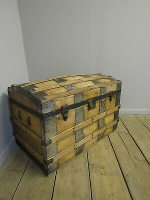 Antique Pine Domed Trunk, Chest, Victorian