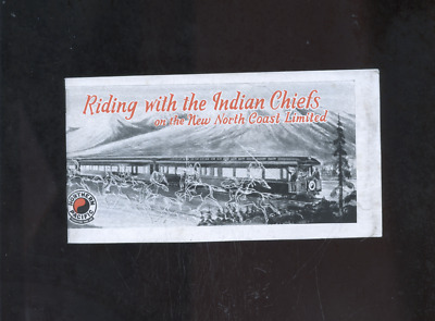 "1930's Northern Pacific railroad brochure,""Riding with the Indian Chiefs"", train"