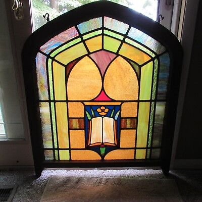 Antique Arch Top Vintage Church Stained Glass Window