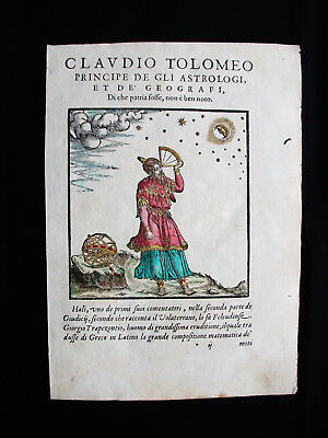 """1573 PTOLEMY -Rare Print of """"CLAUDIUS PTOLEMY"""", PRINCE of ASTROLOGERS & GEOGRAP."""