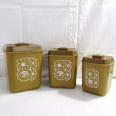 Vintage 1960s Retro Daisy Nesting Kitchen Canisters Clean Condition
