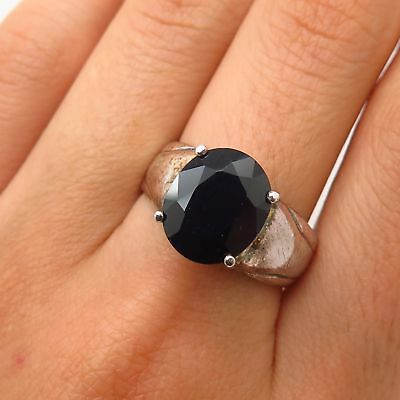 Vtg Signed 925 Sterling Silver Real Large Sapphire Gem Solitaire Ring Size 8.5