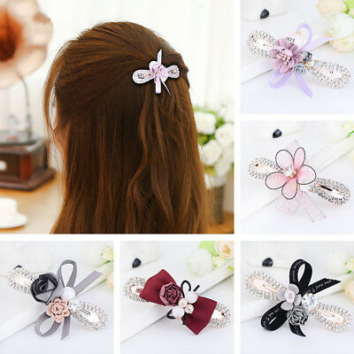 Hot Women Girls Flower Hair Clip Crystal Rhinestone Bow Hairpin Hair Accessories