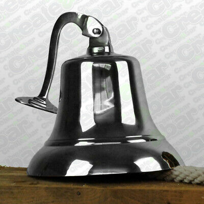 """Giant 10"""" Cast Brass / Chrome Ships Bell - Nautical Marine Boat - Vintage Style"""