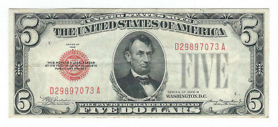 "1928B $5 ""red Seal"" United States Note, Fr 1527, Choice Very Fine"