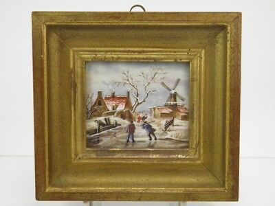 Antique early 20th century miniature oil painting winter landscape with figures