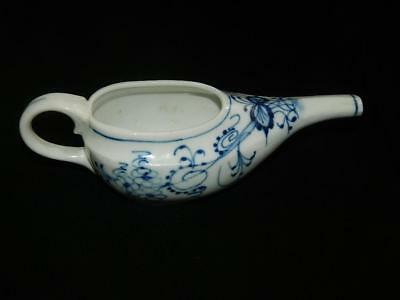"""Blue Onion Oval Invalid Infant Pap Feeder Danube 7 1/4 """" Antique Free Ship"""