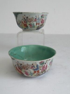 2pcs Vintage Chinese Porcelain Famille Verte Rice Wine Cups Both AS IS