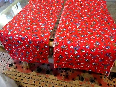 Red Cotton With Blue Flowers Vintage Fabric 2 Pieces 1 Price Remnants 1940's