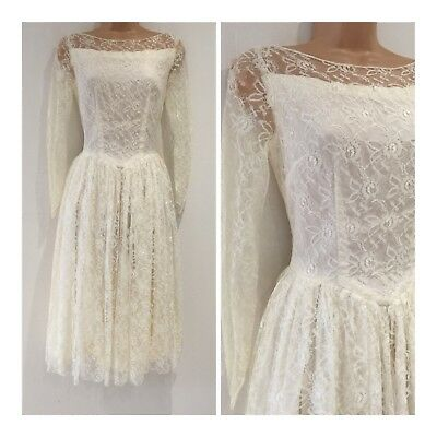 Vintage Beautiful 80's Does 50's Cream Lace Prom Style Wedding Dress Size 6-8