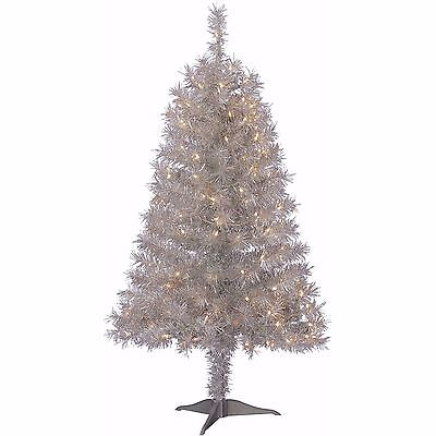 Pre-Lit 4' Frasier Pine Silver Artificial Christmas Tree, 150 Clear Lights