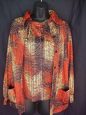 Vintage 70's FLAMING Print Stripes Top Shirt Jacket & Vest Set Mark VII Size L
