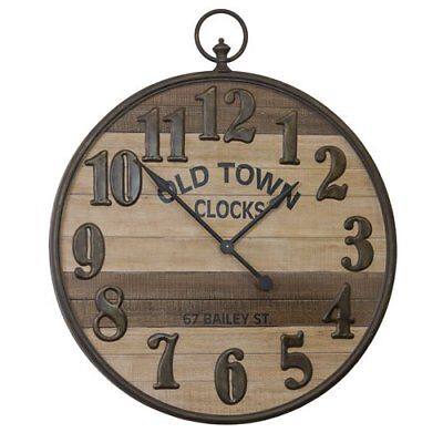 Large Metal Framed Wood Wall Clock with Metal Numbers Old Town Decorative Clock