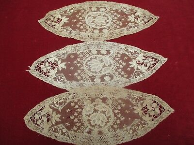 Antique Victorian Normandy Lace Doilies set of 3