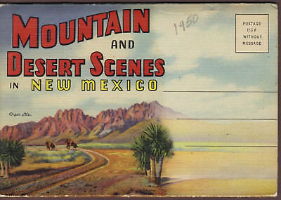 NEW MEXICO Mountain & desert scenes 1937 fold-out postcard