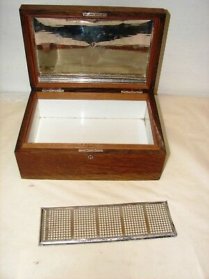 antique quarter sawn oak tobacco cigar humidor porcelain lined
