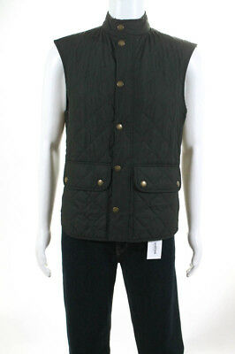 Barbour Mens Vest Jacket Size Medium Green Quilted Button Front Crew Neck