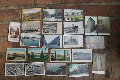 Lot of 22 Linen  RPPC Mixed  1900's Postcards Cities, town, Scenic USA