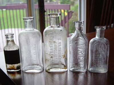 5) 1890's Jonesville ONWELLER Hudson MICHIGAN Mich. Mi. DRUGGIST medicine bottle