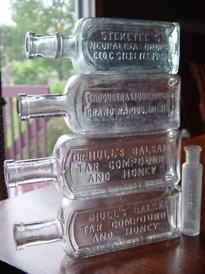 5) 1890s STEKETEE Grand Rapids MICHIGAN Mich. Mi DRUGGIST patent medicine bottle