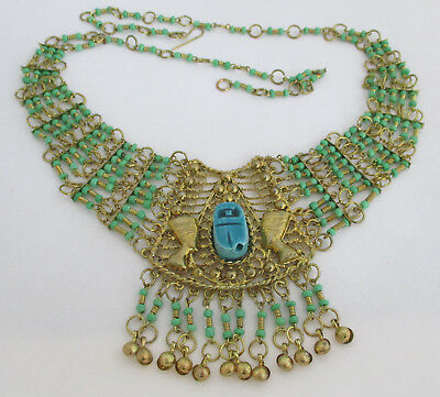 Vintage Egyptian-Style Turquoise-Blue Bead/Scarab Necklace