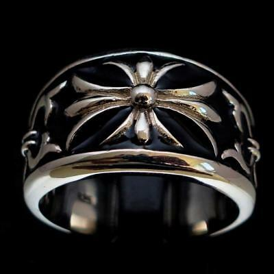 Mens Sterling Silver Medieval Knight Ring Royal Fleur De Lis Lily Black Any Size