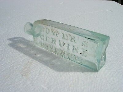 Antique Medicine Bottle BOWERS GENUINE ESSENCES Open Pontil OP Aqua Philadelphia