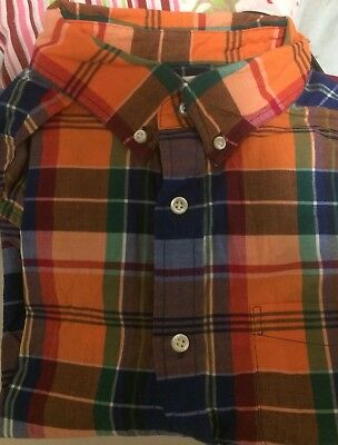 Boys Orange Checked Long Sleeved Shirt By Lands End Age 12-13years