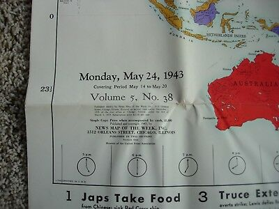 ORIGINAL WWII NEWS MAP OF WEEK 1943 Volume 5 # 29 & 38 U.S. Army Two Poster lot