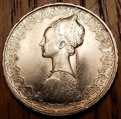 Italy 500 Lire 1966, brilliant AU silver world coin, featuring Columbus's ships