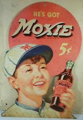 He's Got Moxie Young Baseball Boy 5¢ Five Cents Bottle Heavy Duty Metal Adv Sign