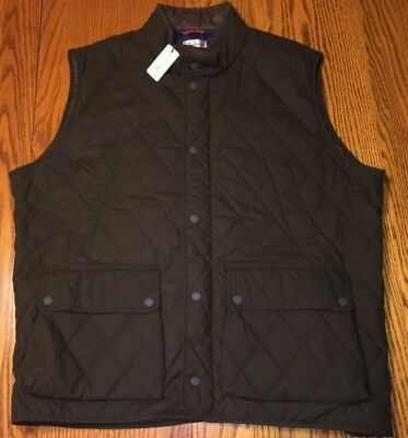 NWT Men's Peter Millar Keswick Waxed Cotton Quilted Vest Green Size: 2XL $245