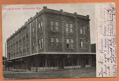 MS Mississippi Brookhaven Perkins Building Scene Lincoln County Postcard